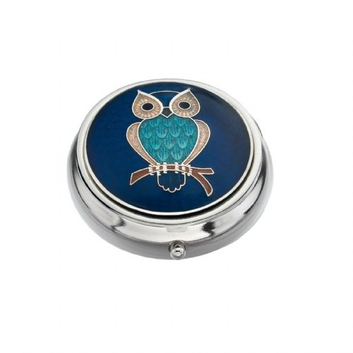 Pill Box Silver Plated Owl Blue Brand New and Boxed